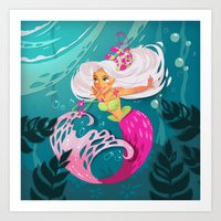 Paper mermaid Art Print