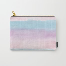 Modern blush pink teal color block watercolor brushstrokes stripes Carry-All Pouch