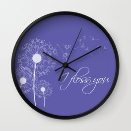 I floss you (purple) Wall Clock