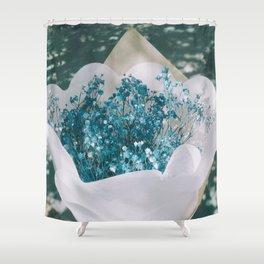 White Floral Bouquet Shower Curtain