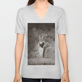 Pair of Donkeys in the French Country - Animal Photography in Black and White Unisex V-Neck