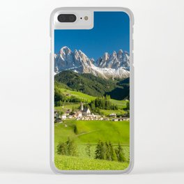 Santa Maddalena village in front of the Geisler or Odle Dolomites Group , Val di Funes, Italy Clear iPhone Case