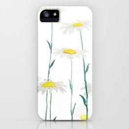 white daisy watercolor horizontal iPhone Case