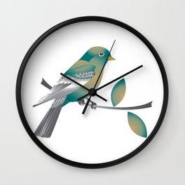 Teal and Gold Bird on a Tree Limb Wall Clock