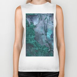 Malachite Glitter Stone and Ink Abstract Gem Glamour Marble Biker Tank
