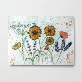 Watecolor Wildflowers Metal Print