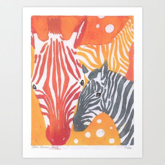 Triple Times the Zebras Art Print