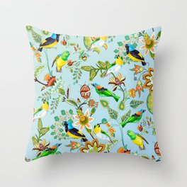 Colourful Birds Chintz Multicolour Throw Pillow