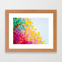 CREATION IN COLOR - Vibrant Bright Bold Colorful Abstract Painting Cheerful Fun Ocean Autumn Waves Framed Art Print