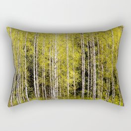 Lovely spring atmosphere - vibrant green leaves on the trees - beautiful birch grove #decor #society Rectangular Pillow