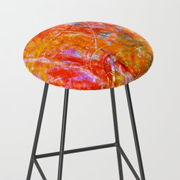 Abstract with Circle in Gold, Red, and Blue Bar Stool