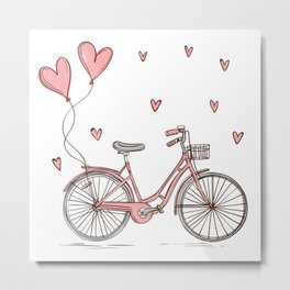 Retro vintage bicycle print with heart shaped balloons Metal Print