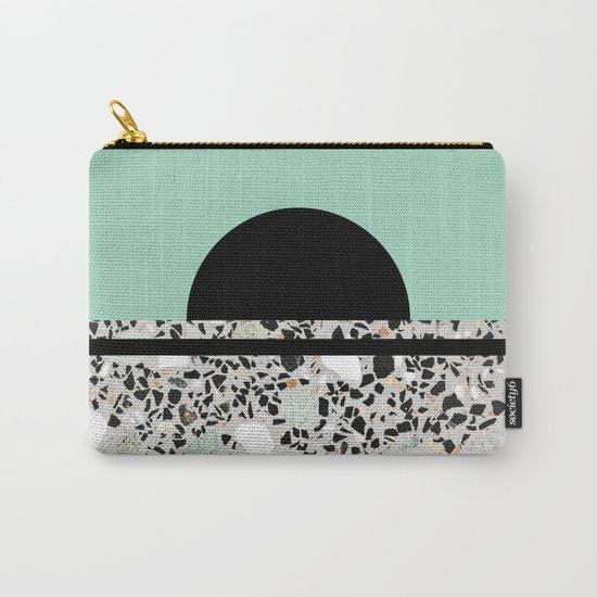 Abstract Concrete and Marble Terrazzo Stone Pastel Green Carry-All Pouch