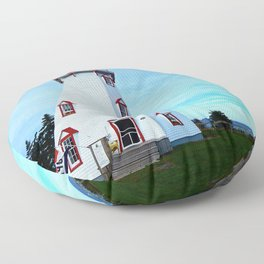 Panmure Island Lighthouse and Boat Floor Pillow