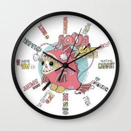 Aqua cat_Muka Wall Clock