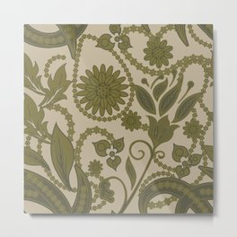 Olive Green Floral Pattern With Green Swashes Detailed Flower Design Antique Green Metal Print