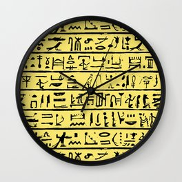 Egyptian Hieroglyphics // Yellow Wall Clock