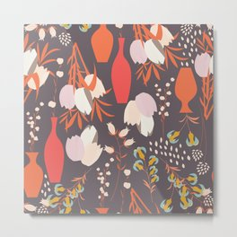 Spring flower pattern, tulips and lilies, 005 Metal Print