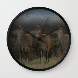Three Red Deer Wall Clock