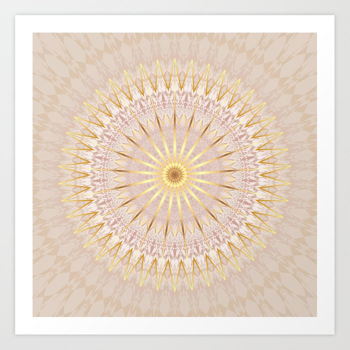 Beige Gold Mandala Medallion Art Print