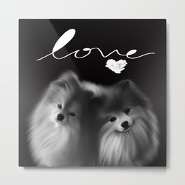 LOVE Pomeranians Metal Print