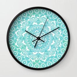 Sea Green Ombre, Indian Mandala Pattern Wall Clock