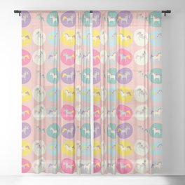 Cute Unicorn polka dots pink pastel colors and linen texture #homedecor #apparel #stationary #kids Sheer Curtain