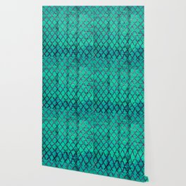 -A4- Stylish Green Traditional Moroccan Carpet Texture. Wallpaper