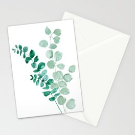 Watercolor eucalyptus leaves Stationery Cards