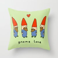 gnome Throw Pillows featuring Gnome Love by Sophie Corrigan