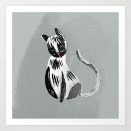 Halftone Kitty black and grey Art Print
