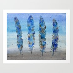 Four Blue Feathers Art Print