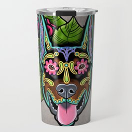 Doberman with Cropped Ears - Day of the Dead Sugar Skull Dog Travel Mug