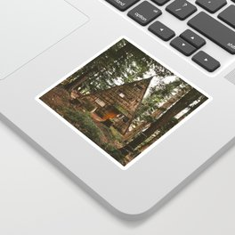 A-Frame Cabin in the Woods Sticker