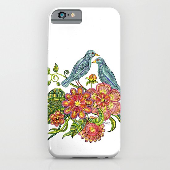 Fly Away With Me - Hand drawn illustration with birds, flowers and leaves. iPhone & iPod Case