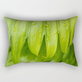 Fresh Tropical Photo Art - Raindrops on Palm Frond Rectangular Pillow