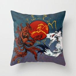 Okami & Kurama Throw Pillow