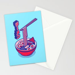 Japanese Ramen Isometric - Red Solid Stationery Cards