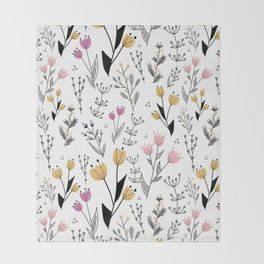 Flower Pattern Throw Blanket