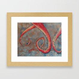 """Oscar the Octopus"" 3/3 - Hand Painted on Wood Framed Art Print"