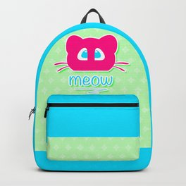 Pink cat head with blue eyes. Meow =) Backpack