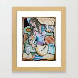 Woman Book and Drink Framed Art Print