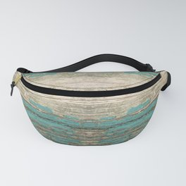 Rustic Wood - Weathered Wooden Plank - Beautiful knotty wood weathered turquoise paint Fanny Pack