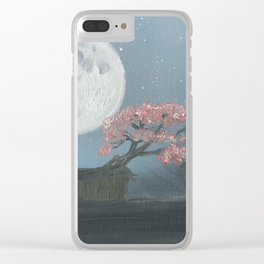 Cherry Blosom Moon Clear iPhone Case
