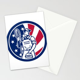 American Professional Cleaner USA Flag Icon Stationery Cards