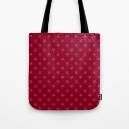 Crimson Red on Burgundy Red Stars Tote Bag