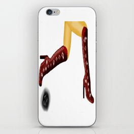 Red Boots, White Legs Running, White Background by Mgyver A1 iPhone Skin