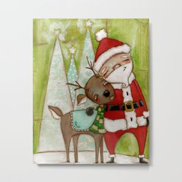 Travelin' Buddies - Santa and his reindeer friend by Diane Duda Metal Print
