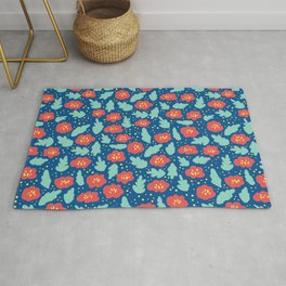 Ditsy Red Flowers on Blue Rug