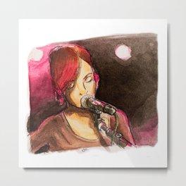 Pink Singer Metal Print